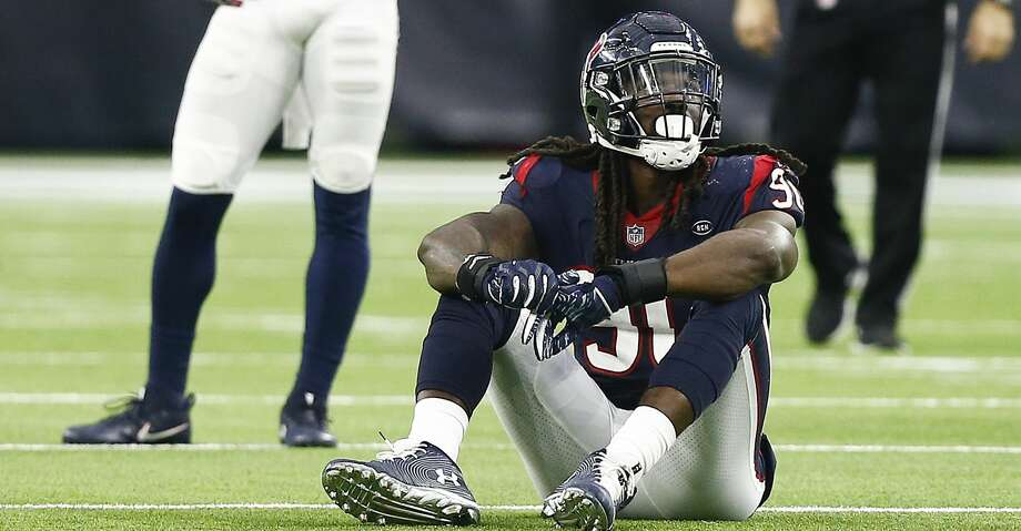 HOUSTON, TX - DECEMBER 09:  Jadeveon Clowney #90 of the Houston Texans looks up at the videobord after he was called for a neutral zone infraction on a third and one during the fourth quarter against the Indianapolis Colts at NRG Stadium on December 9, 2018 in Houston, Texas.  (Photo by Bob Levey/Getty Images) Photo: Bob Levey/Getty Images