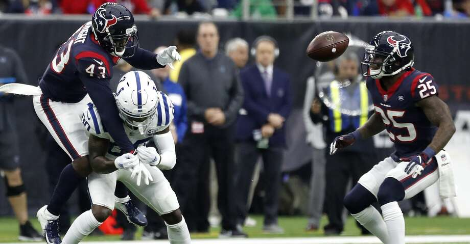 Houston Texans defensive back Shareece Wright (43) breaks up a pass intended for Indianapolis Colts wide receiver Chester Rogers (80) during the second quarter of an NFL football game at NRG Stadium, Sunday, Dec. 9, 2018, in Houston. Photo: Karen Warren/Staff Photographer