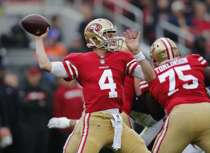 San Francisco 49ers quarterback Nick Mullens throws during the first half of an NFL football game against the Denver Broncos Sunday, Dec. 9, 2018, in Santa Clara, Calif. (AP Photo/John Hefti)