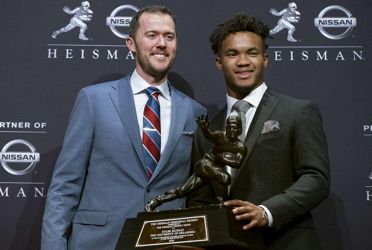 Oklahoma football coach Lincoln Riley, left, poses with Oklahoma quarterback Kyler Murray, winner of the Heisman Trophy, Saturday, Dec. 8, 2018, in New York. (AP Photo/Craig Ruttle)