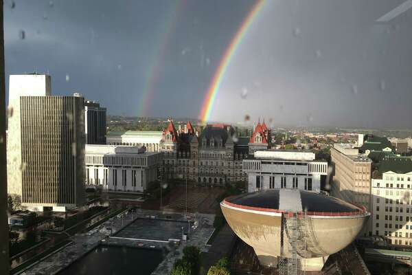 """Tom Johnson of Albany provides this view of a """"remarkable rainbow"""" over the Capitol from the 17th floor of the Corning Tower on Oct. 23."""