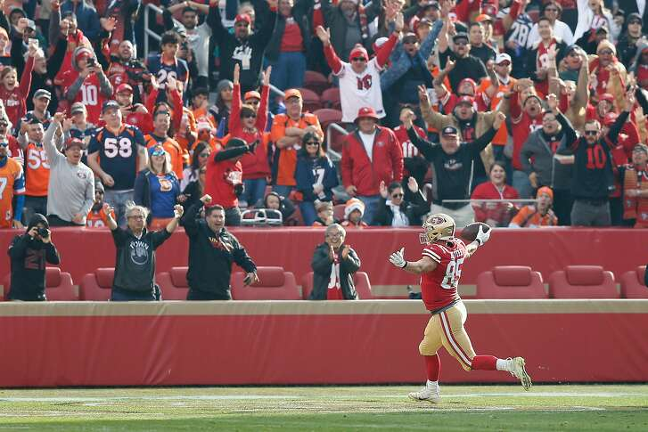 SANTA CLARA, CA - DECEMBER 09: George Kittle #85 of the San Francisco 49ers celebrates a touchdown against the Denver Broncos at Levi's Stadium on December 9, 2018 in Santa Clara, California. (Photo by Lachlan Cunningham/Getty Images)