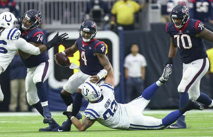 With breakdowns along the offensive line, Texans quarterback Deshaun Watson was sacked five times in Sunday's loss to the Colts.