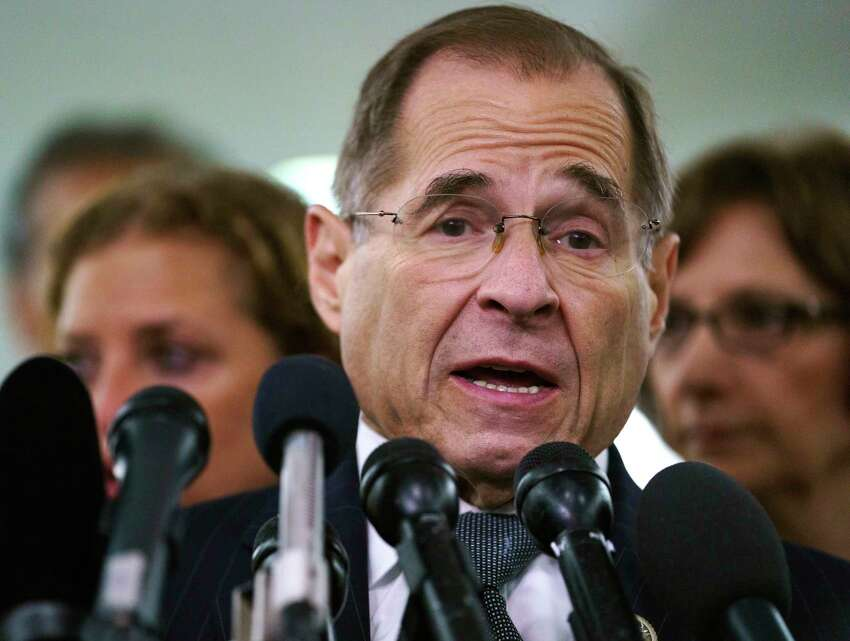 FILE - In this Sept. 28, 2018, file photo, House Judiciary Committee ranking member Jerry Nadler, D-N.Y., talks to media during a Senate Judiciary Committee hearing on Capitol Hill in Washington. Nadler, the top Democrat on the House Judiciary Committee says he believes it would be an
