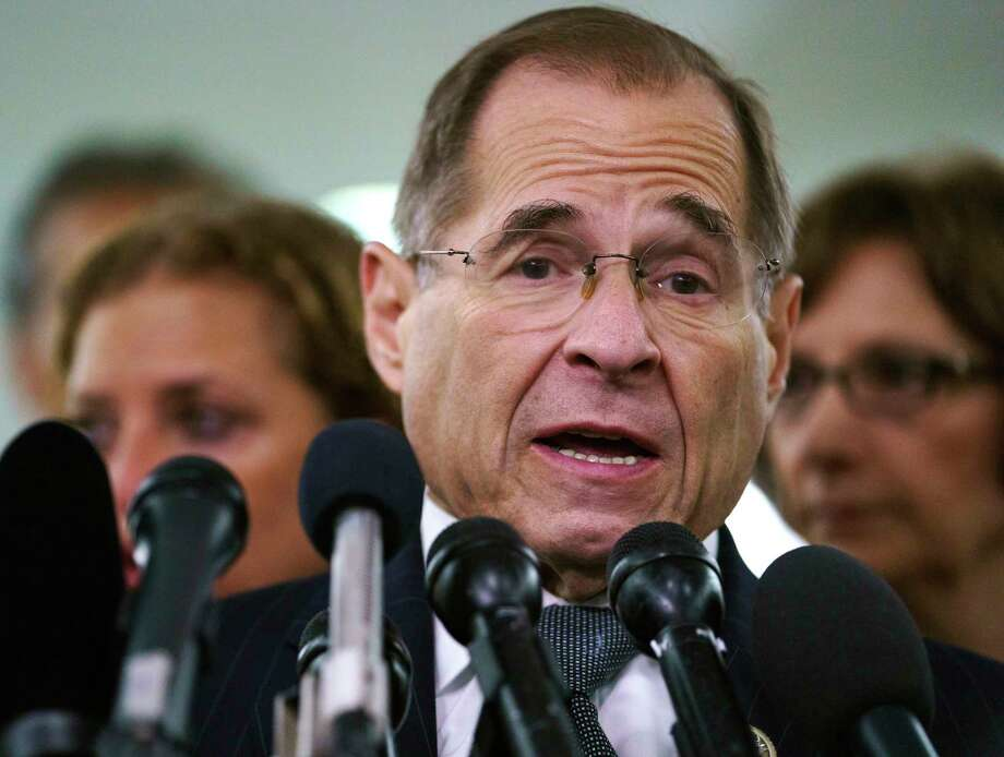 "FILE - In this Sept. 28, 2018, file photo, House Judiciary Committee ranking member Jerry Nadler, D-N.Y., talks to media during a Senate Judiciary Committee hearing on Capitol Hill in Washington. Nadler, the top Democrat on the House Judiciary Committee says he believes it would be an ""impeachable offense"" if it's proven that President Donald Trump directed illegal hush-money payments to women during the 2016 campaign. But Nadler, who's expected to chair the panel in January, says it remains to be seen whether that crime alone would justify Congress launching impeachment proceedings. (AP Photo/Carolyn Kaster, File) Photo: Carolyn Kaster / Copyright 2018 The Associated Press. All rights reserved"
