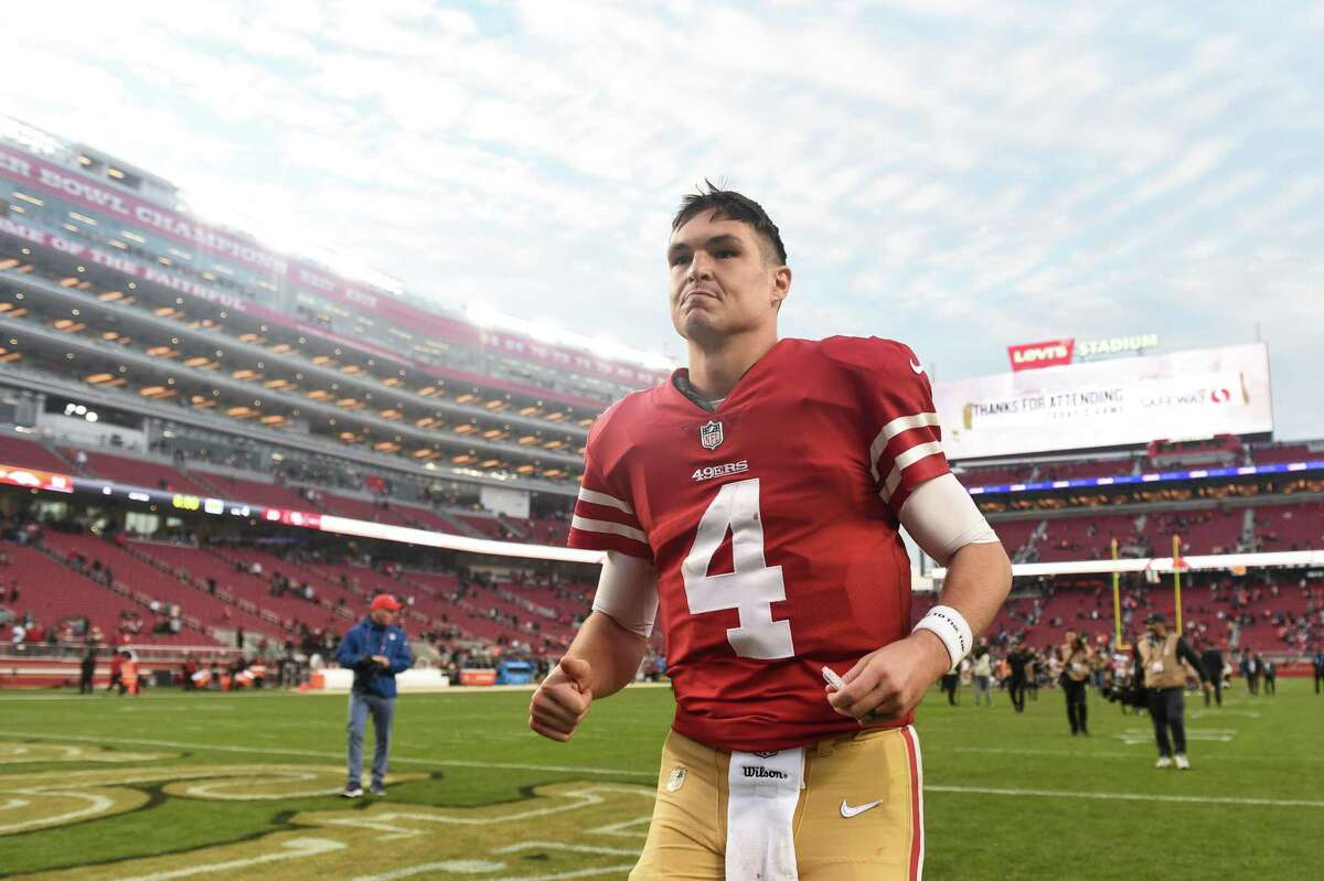 SANTA CLARA, CA - DECEMBER 09: San Francisco 49ers Quarterback Nick Mullens (4) runs off the field victorious after the NFL football game between the Denver Broncos and the San Francisco 49ers on December 9, 2018 at Levi's Stadium in Santa Clara, CA. (Photo by Cody Glenn/Icon Sportswire via Getty Images)