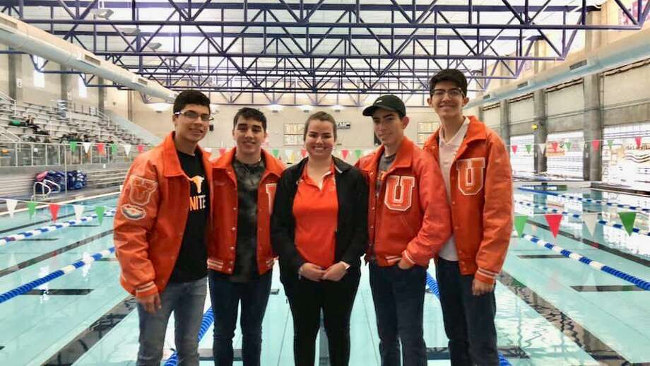 United's 400-yard freestyle relay team of Frausto Sotelo, David Mendoza, Oscar Martinez Jr. and Andrik Hurtado swam a 3:23.80 to break the old mark of 3:24.06 set in 1993. Photo: Clara Sandoval /Laredo Morning Times
