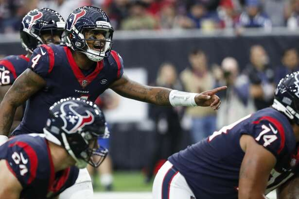 Houston Texans quarterback Deshaun Watson (4) calls out signals as he runs the offense against the Indianapolis Colts during the third quarter of an NFL football game at NRG Stadium on Sunday, Dec. 9, 2018, in Houston.