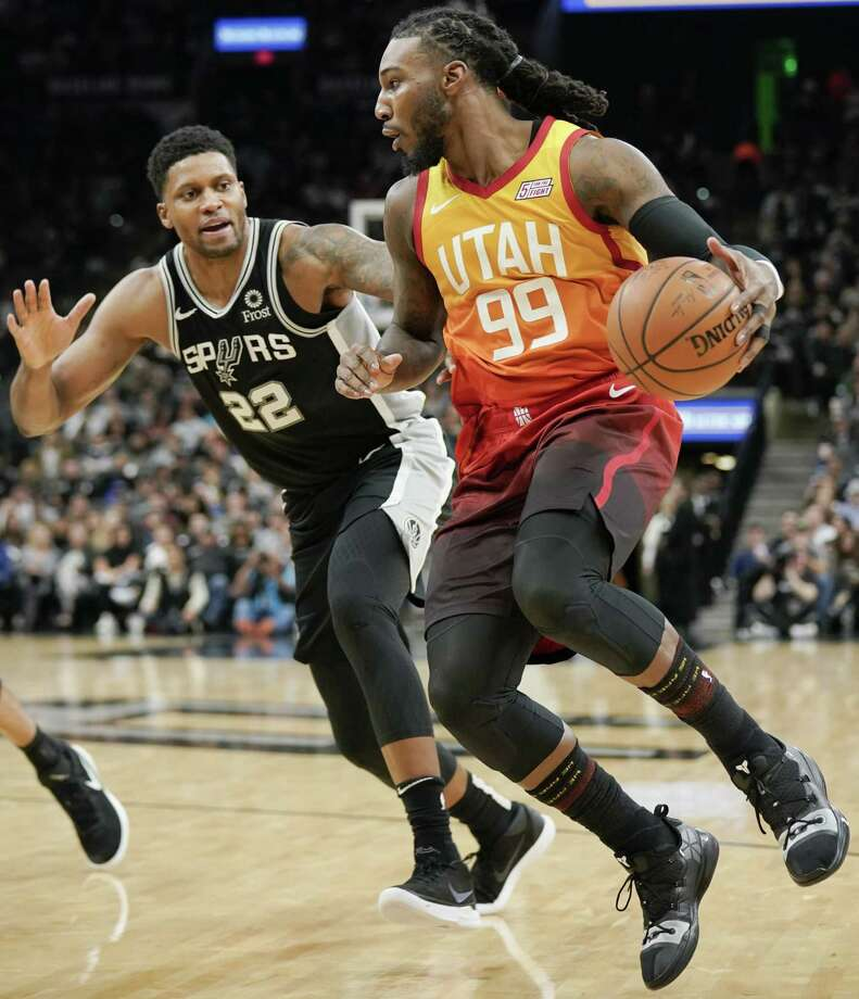 Rudy Gay, guarding Utah's Jae Crowder, scored 23 points one week after scoring zero in the Spurs' blowout loss at the Jazz. Photo: Darren Abate / Associated Press / Copyright 2018 The Associated Press. All rights reserved.