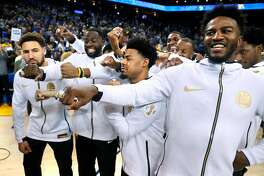 Golden State Warriors' during 2018 NBA Championship ring ceremony before Opening Night game against Oklahoma City Thunder at Oracle Arena in Oakland, Calif. on Tuesday, October 16, 2018.