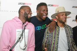 James Ennis III, from left, Clint Capella and PJ Tucker at the launch party for the new Urchin Rocks sneakers created when Tucker teamed up with retailer, Giuseppe Zanotti.