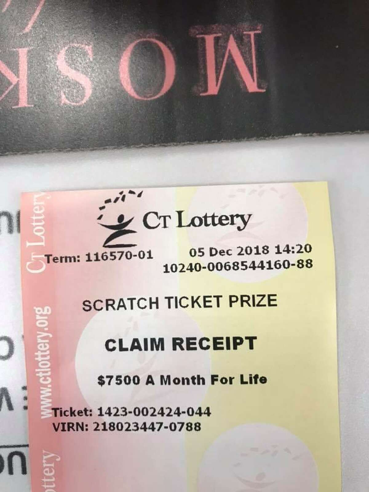 """The Tropical Deli in Danbury wasted no time on its Facebook page letting people know the business sold a winning ticket worth a $1.5 million. It also posted a photo of the Claim Reciept for the prize. """"Play Connecticut Lotto at Tropical Deli where we had a Win For Life Winner!!!!! Someone just won $7,500 a month for life!! Hey, you never know!,"""" it posted."""
