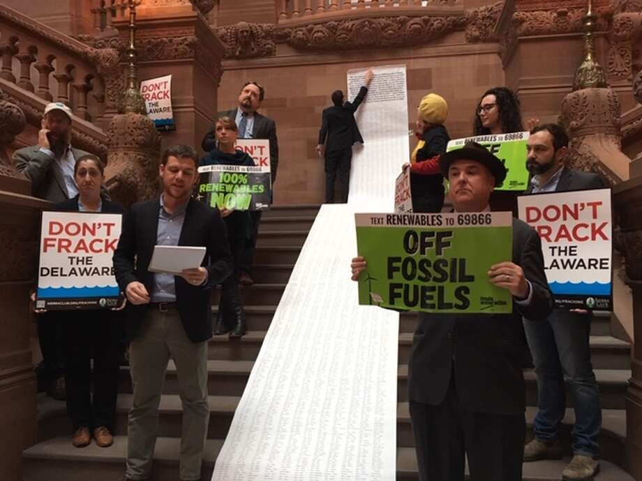 Environment advocates at the New York State Capitol on Dec. 10, 2018, calling for an expansion of statewide fracking ban to include the Delaware River Basin. Photo: (Rachel Silberstein/Times Union)