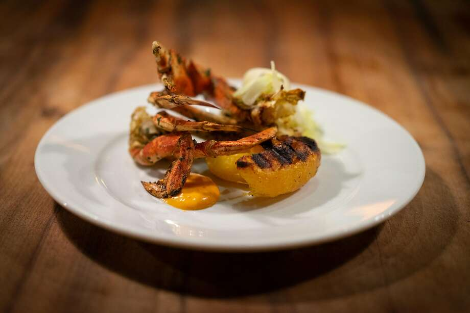 Half a Dungeness crab with kohlrabi salad and pickled chile mayonnaise. Photo: Sarahbeth Maney / Special To The Chronicle