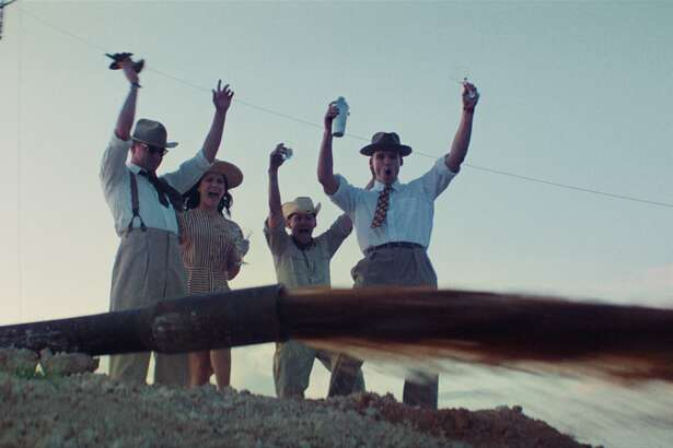 Left to right, Lane Garrison, Ali Cobrin, Lew Temple and Austin Nichols celebrate another hit.