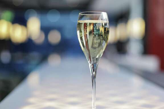 A glass of sparkling wine at Yauatcha in the Galleria on Tuesday, Nov. 27, 2018 in Houston.