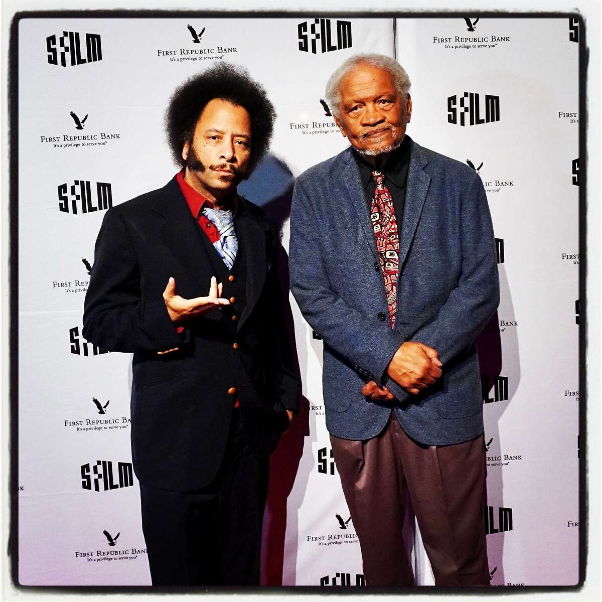 Film director-honoree Boots Riley (left) and poet Ishmael Reed at the SFFilm Awards Night. Dec. 3, 2018.