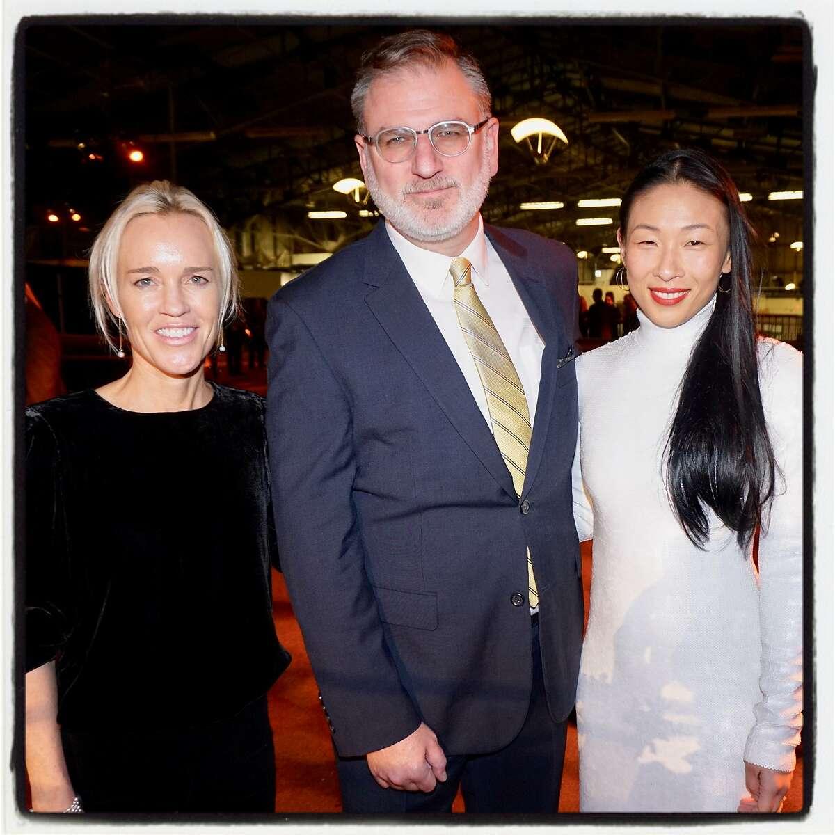 SFFilm executive director Noah Cowan with SFFilm Awards Night cochairs Heidi Fisher (left) and Sonya Yu. Dec. 3. 2018.