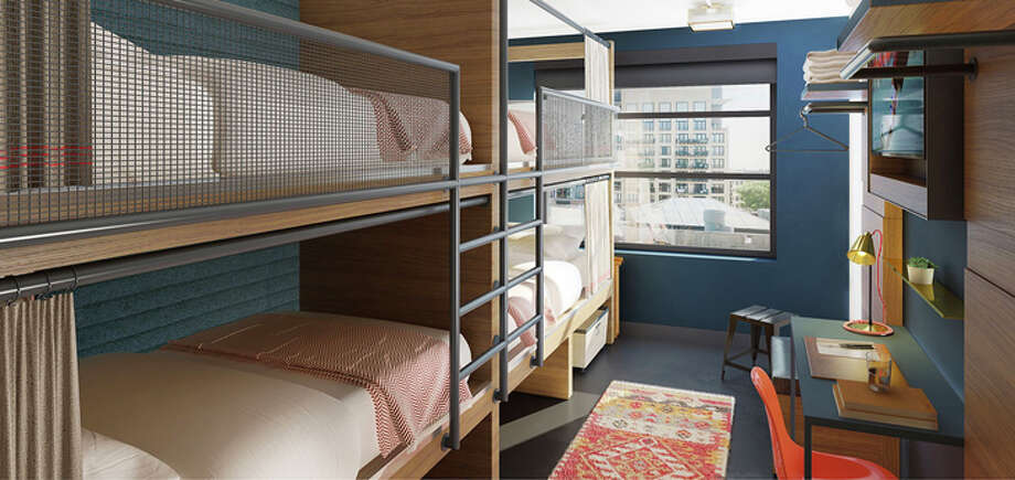 A quad-bedded room in Boston's new Revolution Hotel. Photo: Provenance Hotels