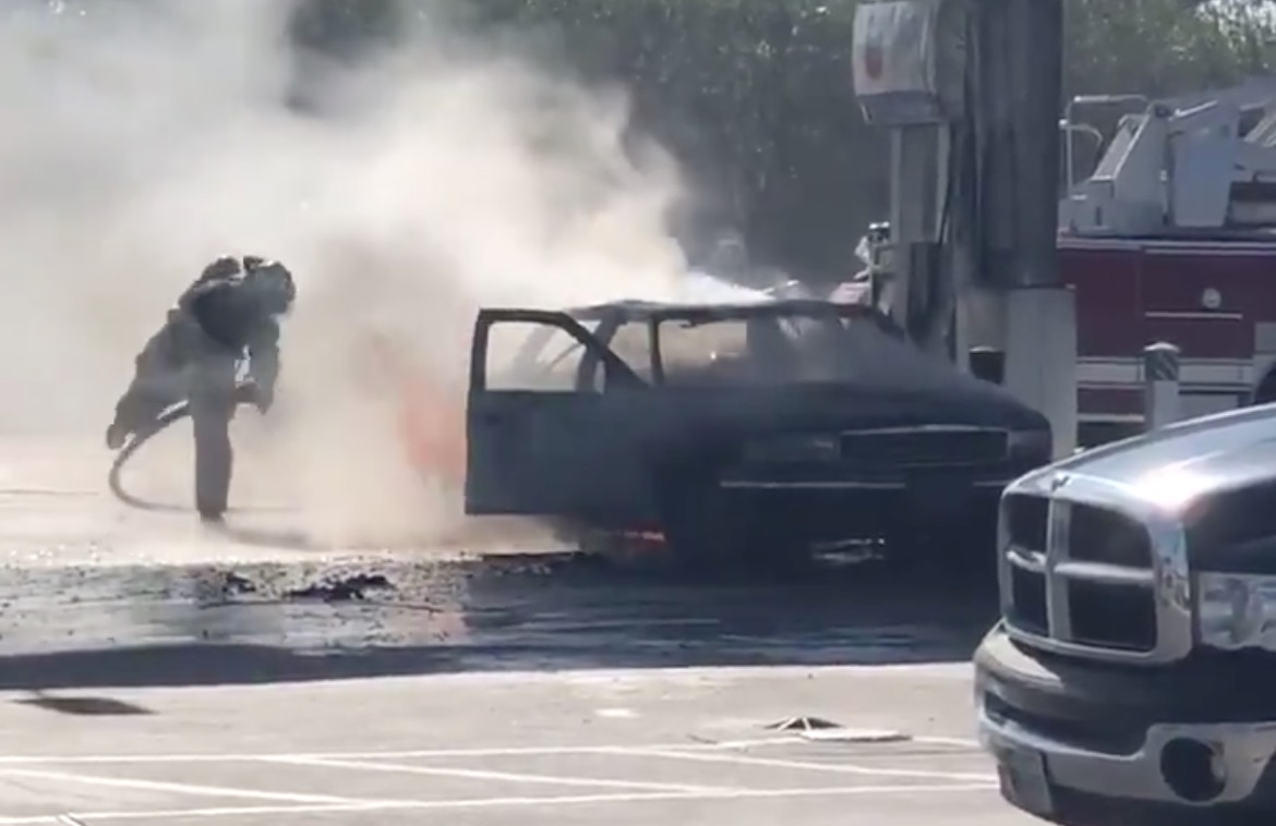 Video: Car erupts in flames at east Houston gas station