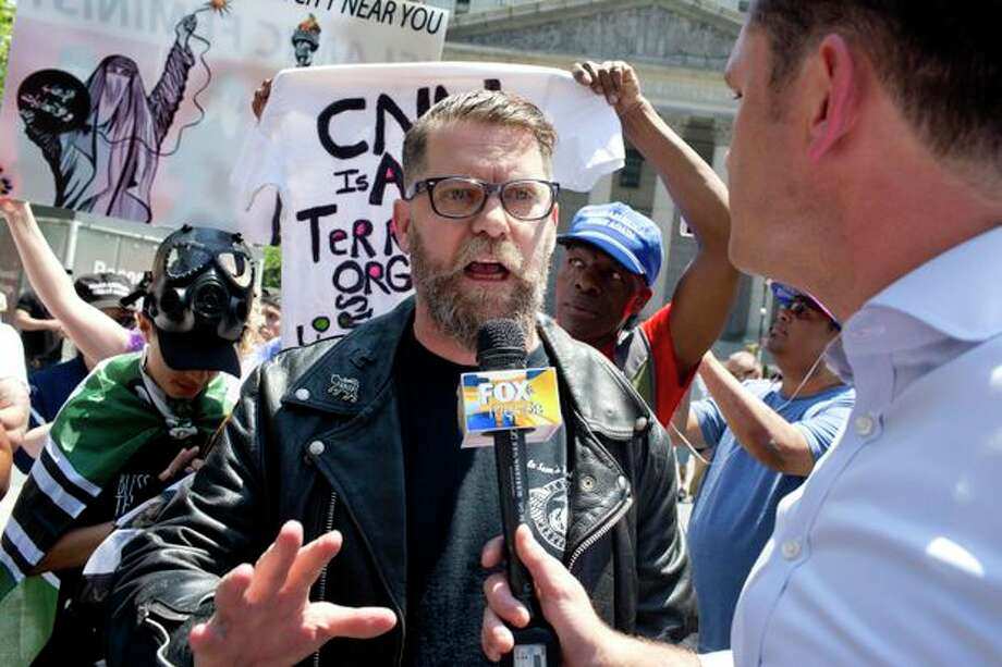 Gavin McInnes, attending a rally to protest sharia law last year, founded the Proud Boys in 2016. Photo: Getty Images