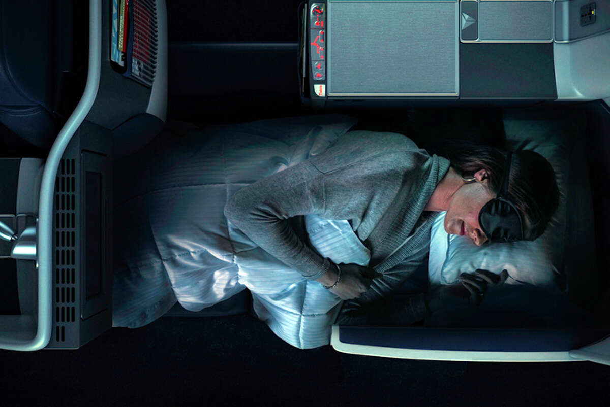 A Delta One flat-bed seat on a 757-300.