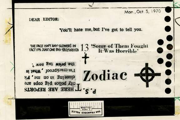 Zodiac killer card sent to Chronicle on Oct. 12, 1970 From Chronicle archives. Zodiac Letter