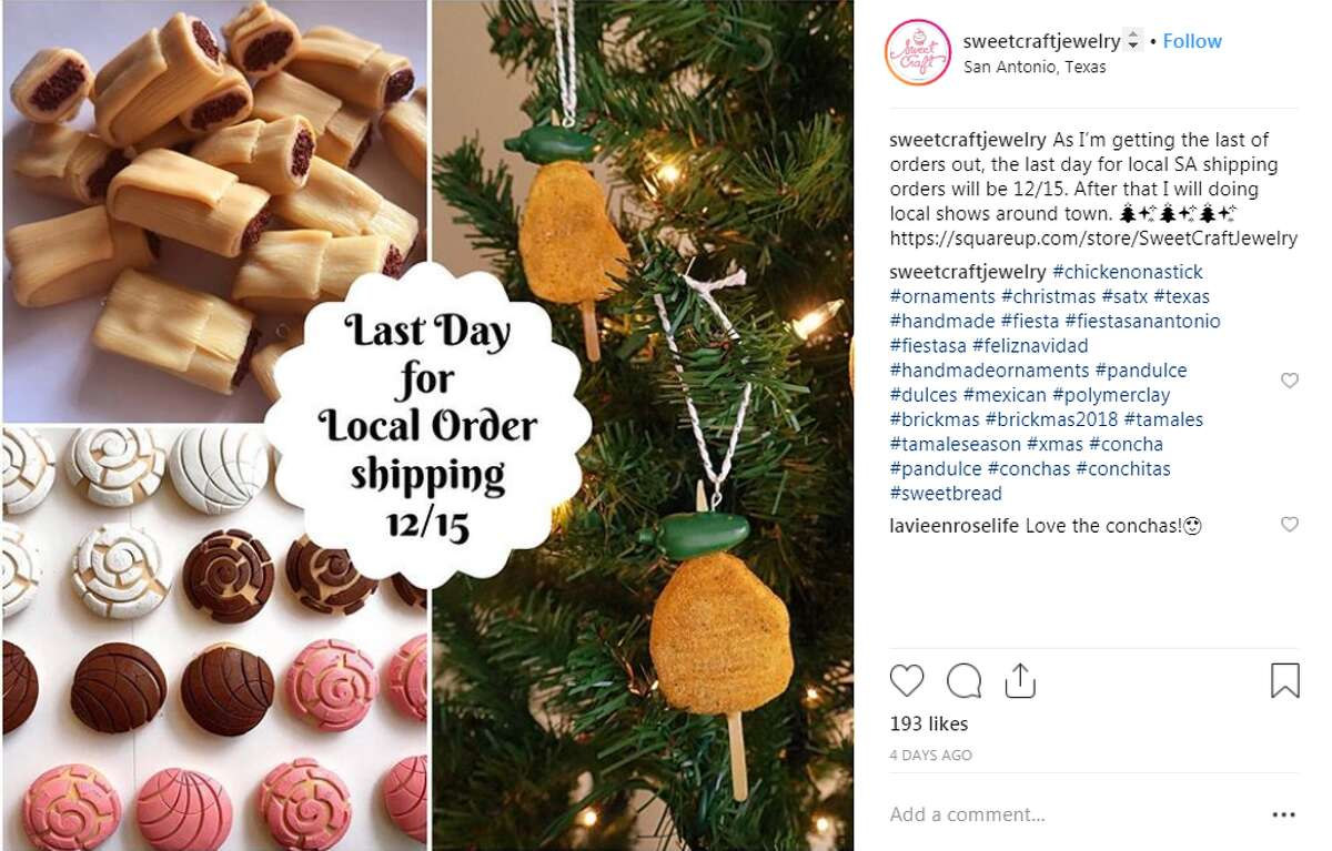 Sweet Craft Jewelry chicken-on-a-stick, tamal and concha ornaments Posted by @sweetcraftjewelry.