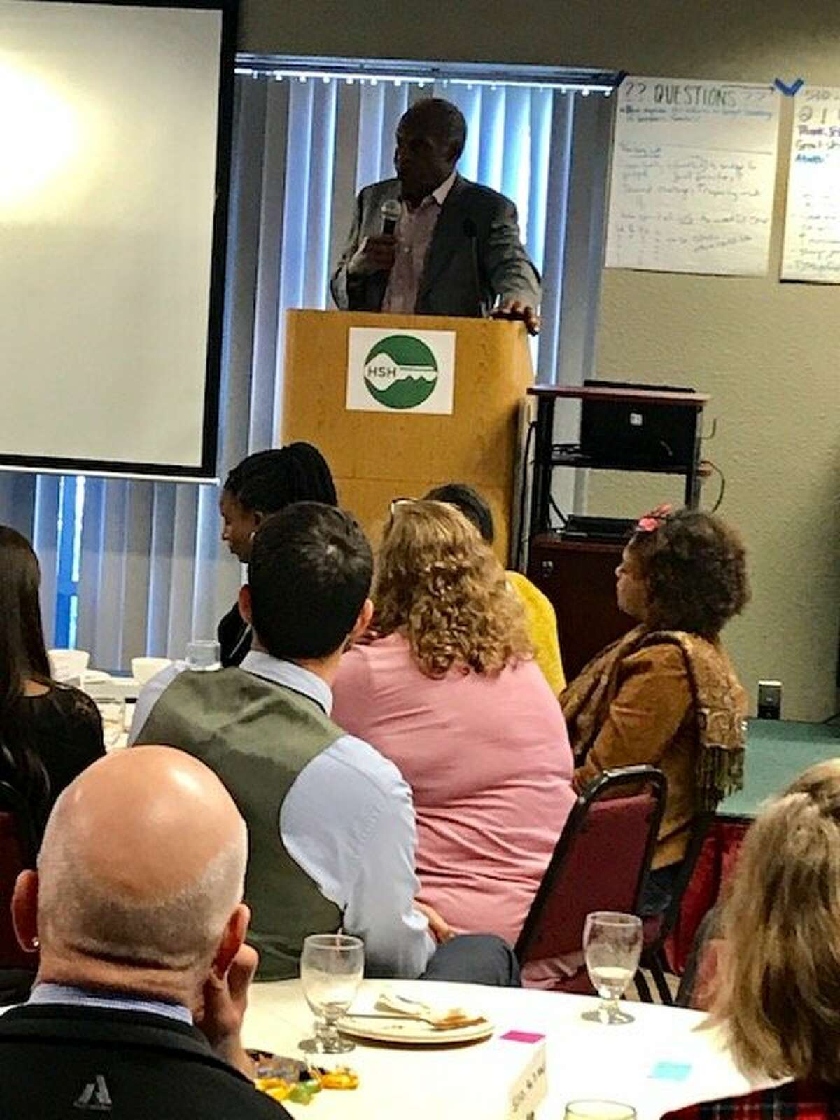 Actor and activist Danny Glover addresses a gathering of nonprofits that address homelessness in San Francisco on Dec. 7, 2018.