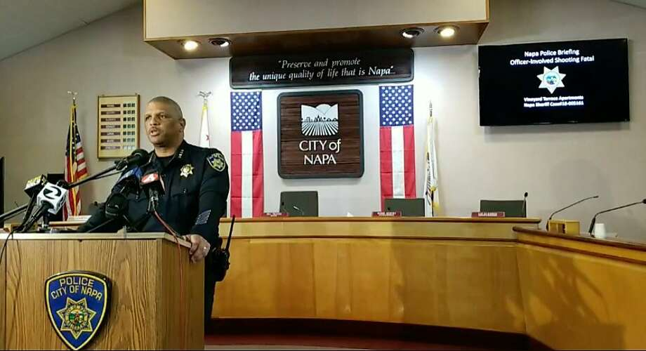 Napa Police Chief Robert Plummer speaks at the Napa City Hall Council Chambers on Dec. 10, 2018, regarding a fatal officer-involved shooting. Photo: Napa Police Department