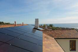 Houston-based Sunnova arranges for installation of solar panels on customersí roofs including this one in California, but retains ownership of the panels and sells electricity to the homeowners under 25-year contracts. Most of its customers are outside Texas. (Sunnova photo)