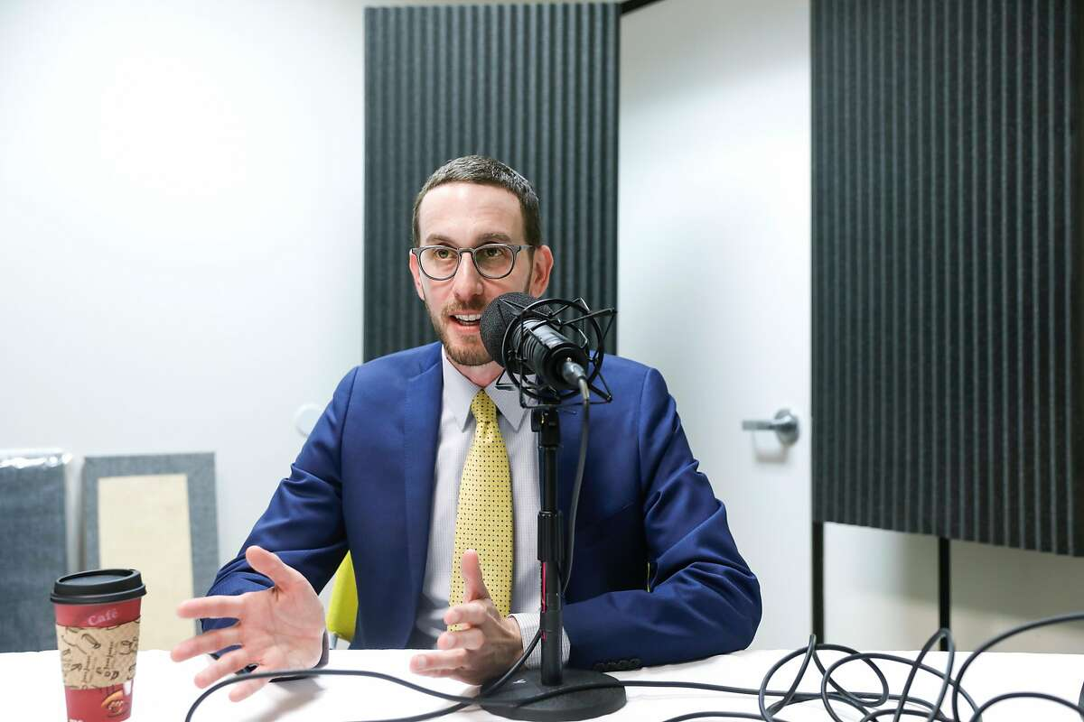 California State Senator Scott Weiner answers questions from Chronicle reporter Heather Knight during the recording of the SF City Insider podcast on Monday, Dec. 10, 2018 in San Francisco, Calif.