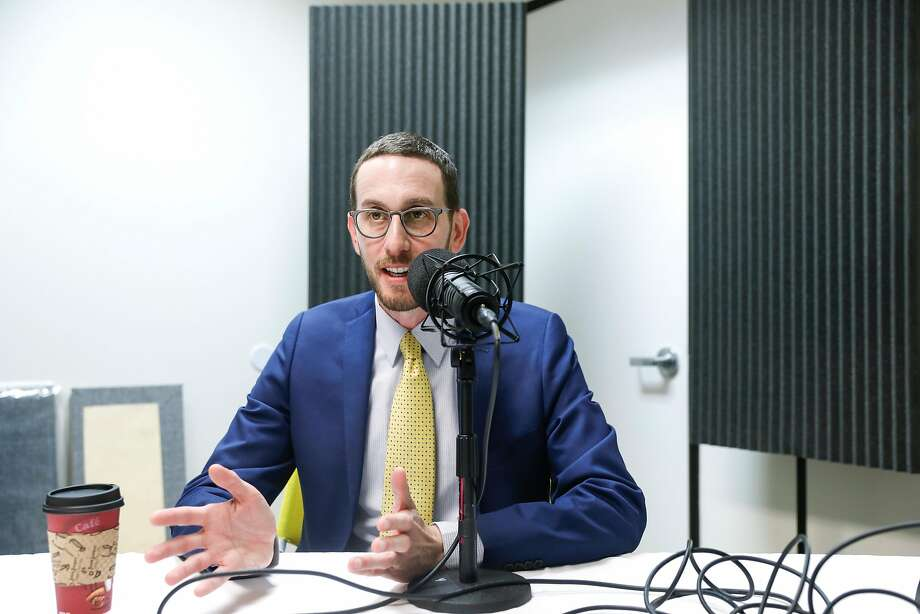 """State Sen. Scott Weine, shown recording a podcast at The San Francisco Chronicle offices, is proposing a law guaranteeing a """"right to shelter,"""" so counties would have to provide beds. Photo: Russell Yip / The Chronicle"""