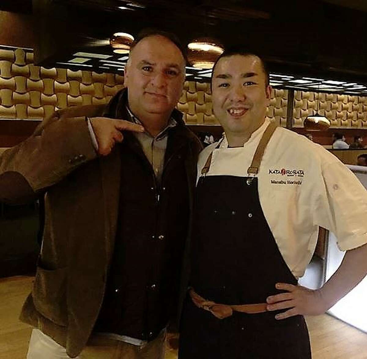 JanuaryWho: Jose Andres Where: Kata RobataDetails: When the celebrity chef hit town to speak at a conference immigrant reform. he left a social media trail of hotspots he visited, including Upper Kirby's Kata Robata, Heights bar Better Luck Tomorrow, and Midtown's Holman Draft Hall. Pictured: Jose Andres and Kata Robata's chef Horiuchi