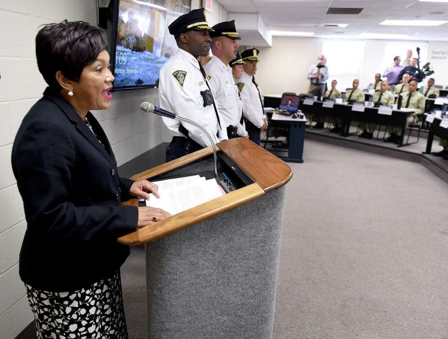 New Haven Mayor Toni Harp prepares to swear in a class of 31 officer candidates at the New Haven Police Academy  Sept. 17, 2018. Photo: Arnold Gold / Hearst Connecticut Media / New Haven Register