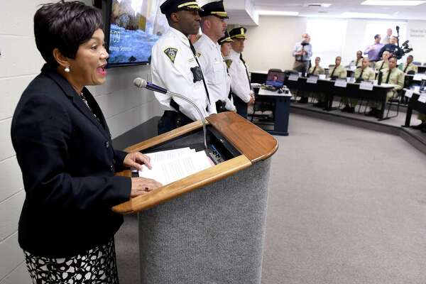 New Haven Mayor Toni Harp prepares to swear in a class of 31 officer candidates at the New Haven Police Academy Sept. 17, 2018.