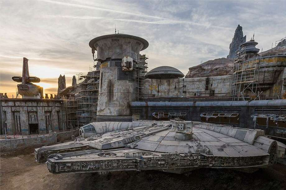 "Disneyland posted this image of construction at ""Star Wars: Galaxy's Edge,"" including a life-size model of Millennium Falcon. The attraction is slated to open in 2019. Photo: Disneyland"