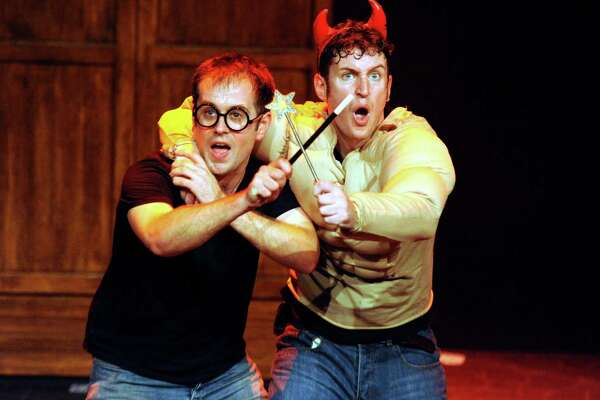 "Jefferson Turner, left, and Daniel Clarkson perform ""Potted Potter,"" in which they present all seven Harry Potter stories in one stage show."