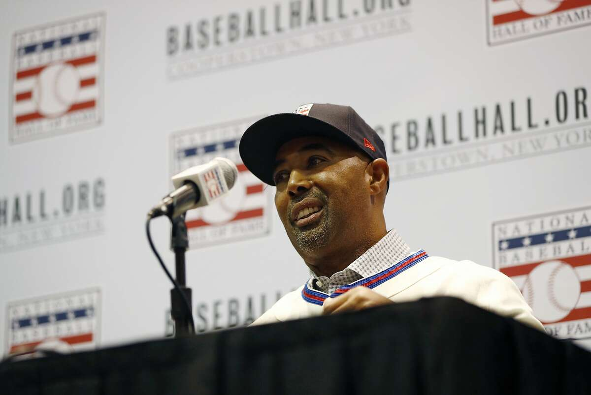 Harold Baines speaks during a news conference for the baseball Hall of Fame during the Major League Baseball winter meetings, Monday, Dec. 10, 2018, in Las Vegas. (AP Photo/John Locher)