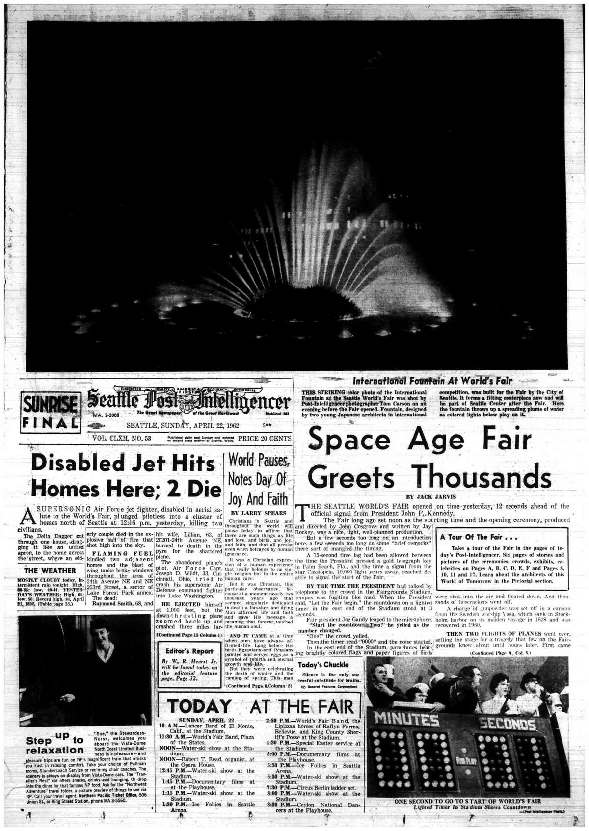 The P-I featured Seattle Center's International Fountain above the fold the day after the World's Fair debut, April 22, 1962.