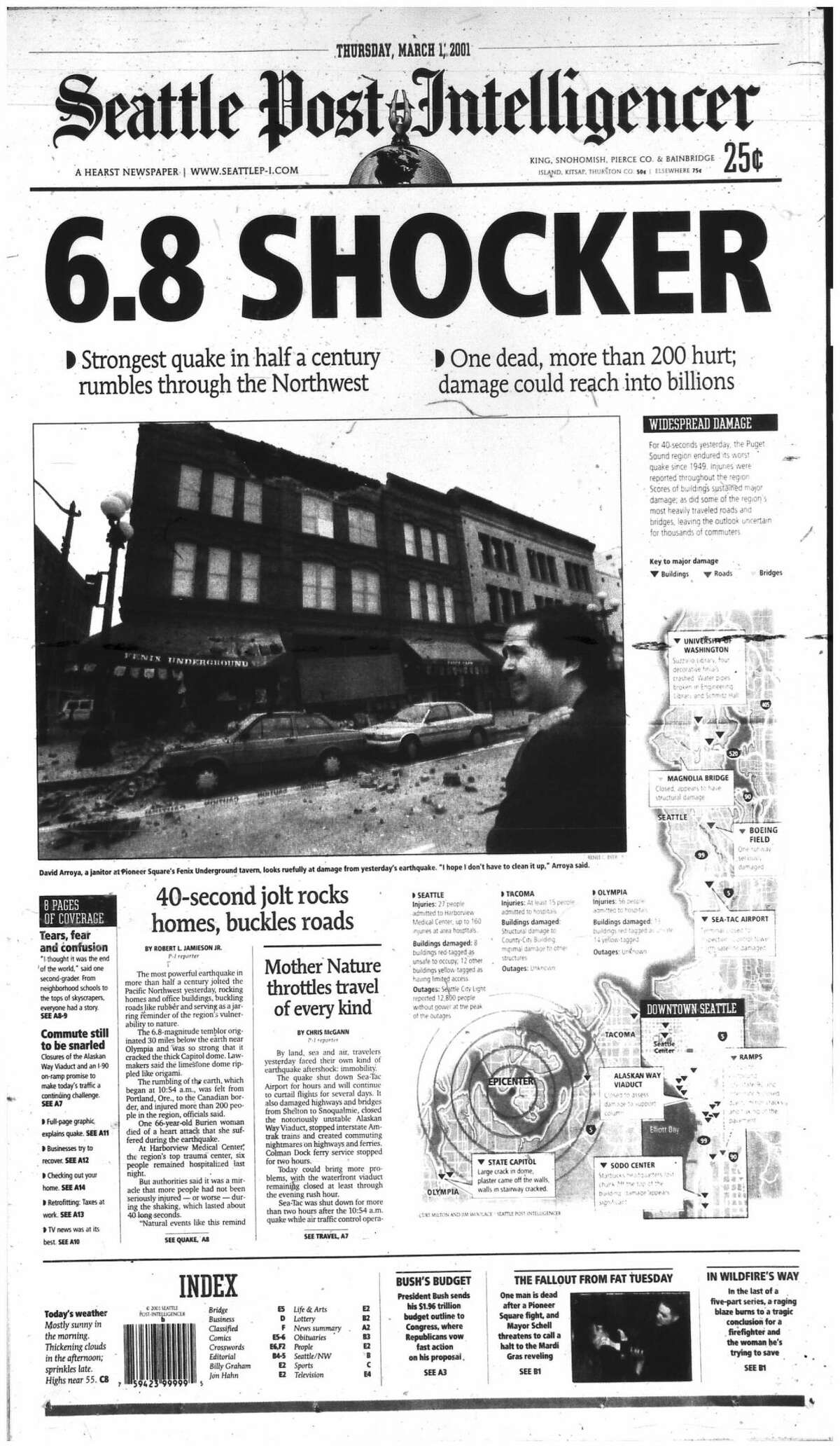 The March 1, 2001 edition of the P-I illustrated the 6.8 Nisqually Earthquake that shook Western Washington. Look only as far as the forthcoming tear-down of the Alaskan Way Viaduct to see its continued reverberations. Keep clicking for photos of damage caused by the 2001 quake...