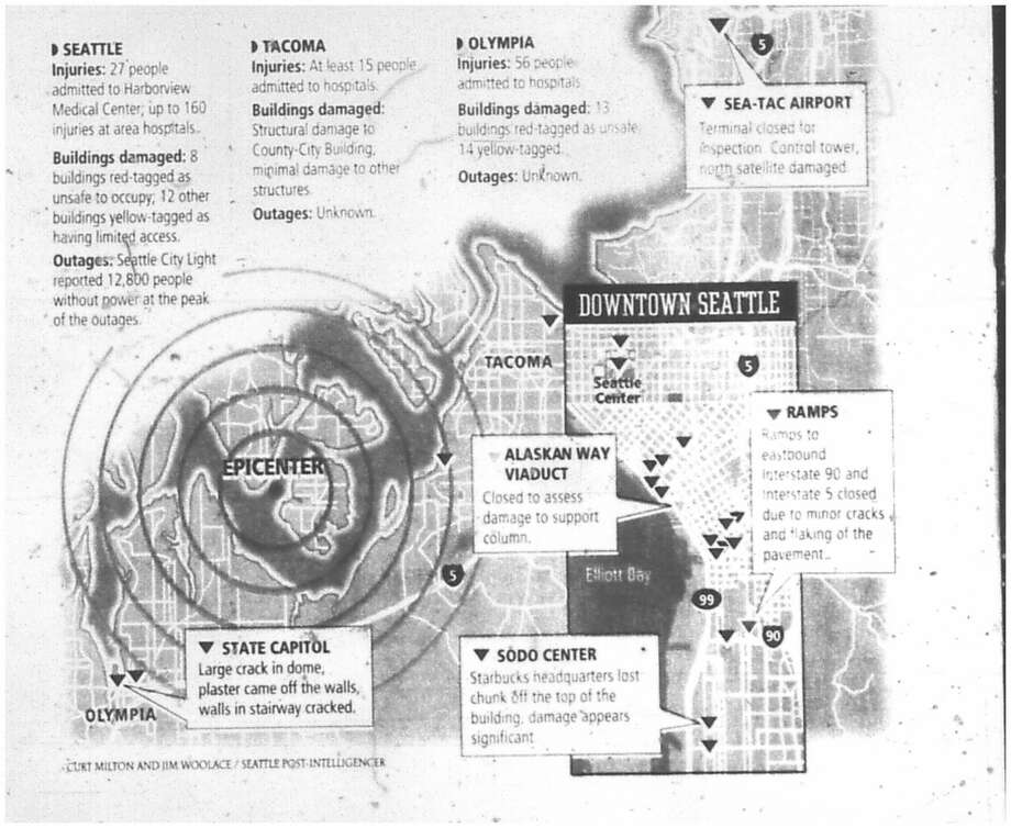 As reported in this front-page graphic, more than 200 people were injured and the quake caused damage to major roadways, the Starbucks headquarters and the state Capitol. Photo: University Of Washington Archives