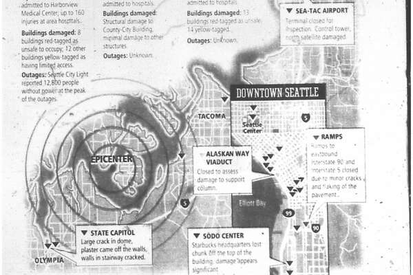 As reported in this front-page graphic, more than 200 people were injured and the quake caused damage to major roadways, the Starbucks headquarters and the state Capitol.