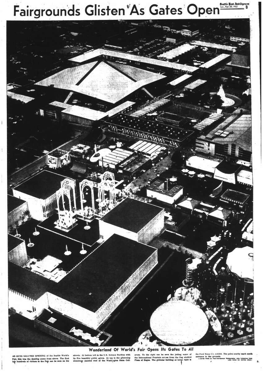 The P-I ran this aerial shot of the World's Fair campus, looking to the northwest, April 22, 1962.