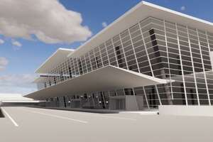 Pictured is a rendering of the redevelopedMickeyLelandInternationalTerminal at Bush Intercontinental Airport. The project will, essentially, combine Terminal D and Terminal E, with passengers arriving and departing from what is now Terminal E.