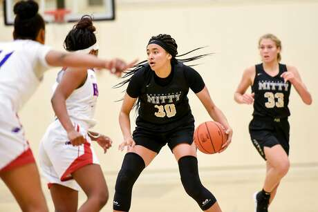 Archbishop Mitty High School's Haley Jones dribbles the all up court during their game against Christian Brothers High School, held at Chabot College in Hayward, California, on Saturday, December 8, 2018.  San Jose's Archbishop Mitty High School senior guard Haley Jones has signed a letter of intent to play at Stanford University next year.