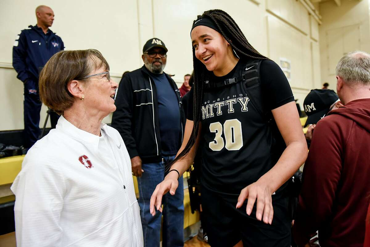 Archbishop Mitty High School's Haley Jones, right, talks with Stanford Women's Basketball Coach Tara VanDerveer following Mitty's win in a game against Christian Brothers High School, held at Chabot College in Hayward, California, on Saturday, December 8, 2018. San Jose's Archbishop Mitty High School senior guard Haley Jones has signed a letter of intent to play at Stanford University next year.