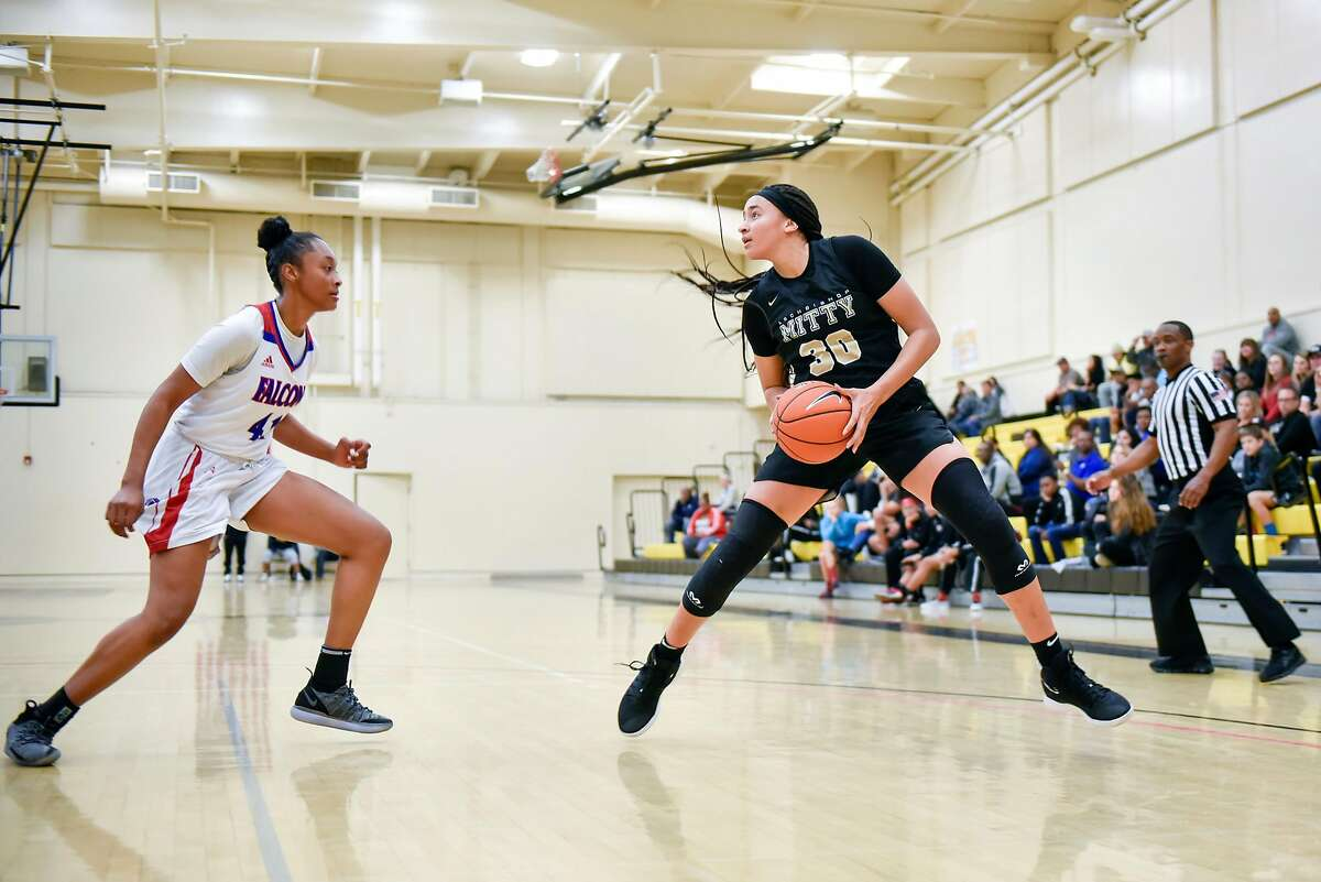 Archbishop Mitty High School's Haley Jones steps back for a shot against Christian Brothers High School's Bria Shine during their game at Chabot College in Hayward, California, on Saturday, December 8, 2018. San Jose's Archbishop Mitty High School senior guard Haley Jones has signed a letter of intent to play at Stanford University next year.