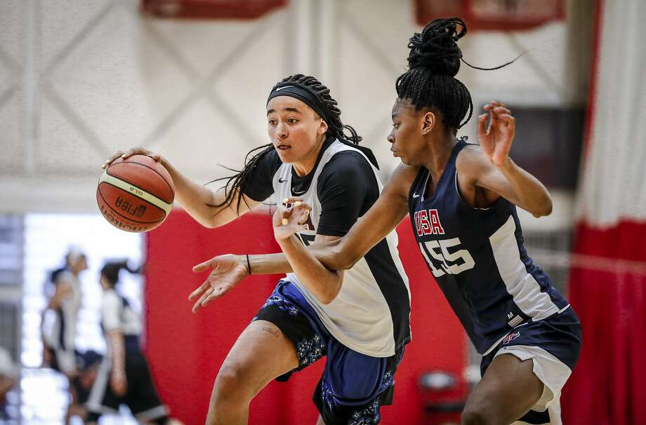 COLORADO SPRINGS, CO - MAY 25: Haley Jones #85 of Santa Cruz, Calif. drives to the hoop in front of Sahara Jones #155 of San Antonio, Texas as they participate in tryouts for the 2018 USA Basketball Women's U17 World Cup Team at the United States Olympic Training Center in Colorado Springs, Colorado. Finalists for the team will be announced on May 28 and will remain in Colorado Springs for training camp through May 30. (Photo by Marc Piscotty/Icon Sportswire via Getty Images) Photo: Icon Sportswire 2018