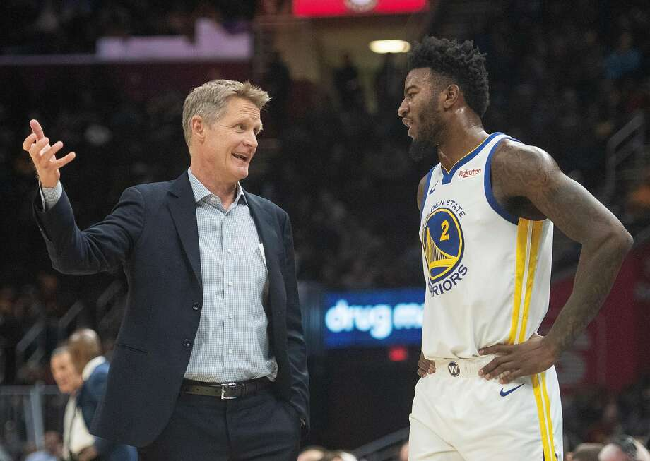 The Golden State head coach Steve Kerr talks with Jordan Bell during Wednesday nights game as the Warriors face the Cavaliers at Quicken Loans Arena in Cleveland on December 5, 2018.  (Kyle Lanzer/Special to The San Francisco Chronicle) Photo: Kyle Lanzer/Special To The San Francisco Chronicle)